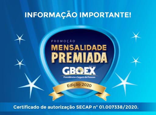 GBOEX anuncia novo calendário de sorteios da promoção Mensalidade Premiada