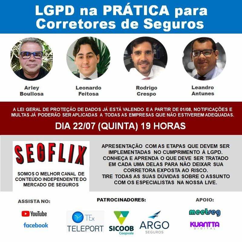 SEGFLIX realiza transmissão sobre LGPD na prática para corretores de seguros